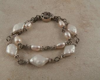 Silver & Pearl 2 strand Bracelet