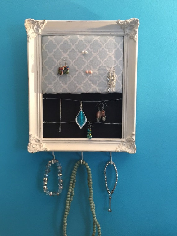 Shabby chic repurposed picture frame jewelry holder example for Repurposed jewelry holder