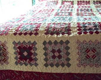 Handmade Christmas Queen Sized Quilt-Soft Patchwork Quilt- Red, Green, and Cream Handmade Wedding Gift