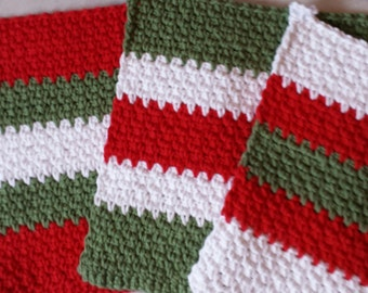The perfect gift for anyone who cooks -Maybe You.  3 Red, Green and White Cotton Dishcloths. dishrags.    Free Shipping