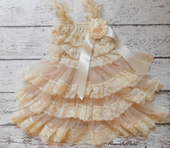 Medium Size, Beige lace Dress , and set,Lace Flower girl dress ,Baby Lace Dress,Lace Dress, Ivory Lace dress