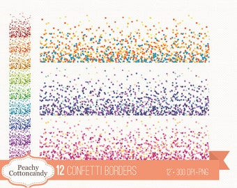 BUY 2 GET 1 FREE 12 Confetti borders clipart - confetti clip art - confetti border - Personal and Commercial Use