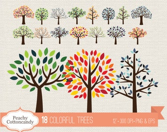 BUY 2 GET 1 FREE Colorful trees clipart - summer tree clip art - Commercial Use Ok