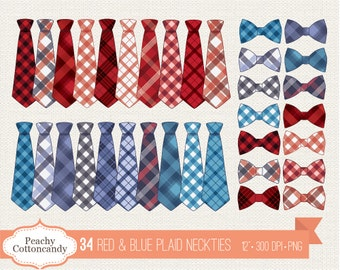 BUY 2 GET 1 FREE 34 Red & Blue Plaid Neckties Clipart - Plaid Necktie and Bow Tie Clip Art - Tie Embellishment Clip Art - Commercial Use Ok
