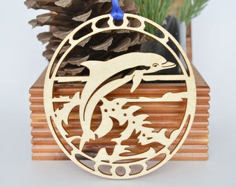 Dolphin ornament wood-cut Dolphin decoration