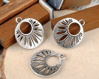 10 pcs 22x19mm Antique Silver flowers Round Ear Wire Earrings Findings Connectors pendants