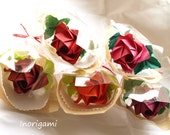 5 Origami Roses Each Wrapped / Welcome Gift / Decorative Display / Wedding Souvenir or Favors / Birthday Party / Red Hues