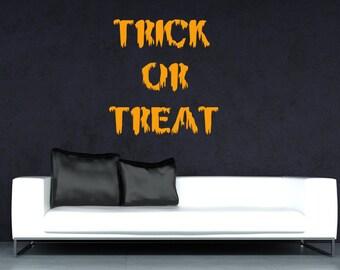 Wall Decal Trick Or Treat Halloween Sticker Shop Window Festive Decoration Home Decor Decorative