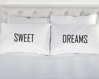 Sweet Dreams Pillowcases Pair  Printed Pillow Case Wedding Engagement Marriage Valentines Day Couple Bed 200TC 100% Cotton Excellent Quality