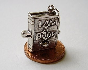 Sterling Silver Opening Bookworm Book Worm Charm