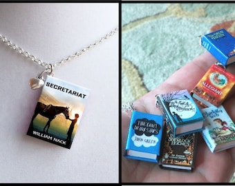 Secretariat with Tiny Heart Charm -Micro Mini Book Necklace