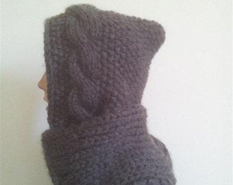 Scoodie, grey brown, scarf and hoodie, knitted, virgin wool Merino, polyacryl, Christmas