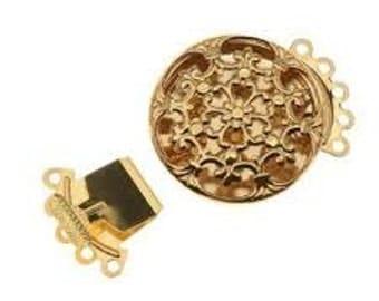 Box Clasp 22mm Filigree 5 Strand - Bright Silver / Gold