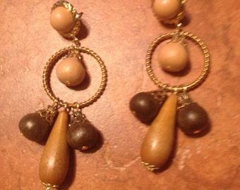 Vintage Chandelier Earrings Gold Loops Wood Beads Jewelry