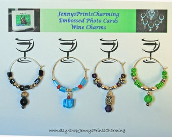 Wine Charms. 4 different colored charms with the wire beaded in coordinating colors.