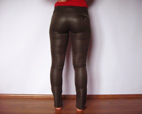Dark Brown Women Pants Shiny Tight Pants Women by AncientGoodies