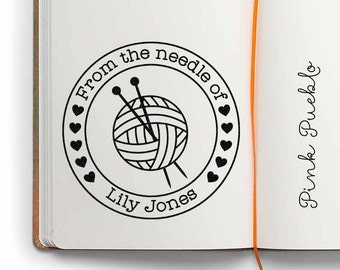 "Large 3x3"" Personalized Knitting Rubber Stamp, From the Needle Of Knitting Label Stamp"