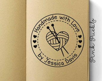 "Large 3x3"" Personalized Knitting Rubber Stamp, Handmade with Love Knitting Label Stamp"