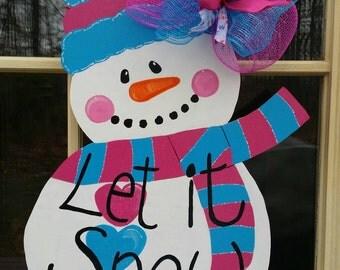 Snowman door hanger, snowman wreath, winter door hanger, winter wreath, christmas door hanger, christmas wreath, snowman door decor