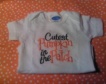 cutest pumpkin in the patch onesie, tshirt, cute pumpkin, halloween, pumpkin patch