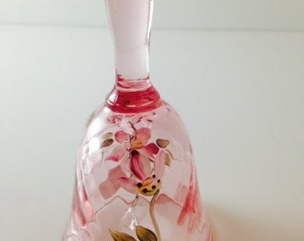 Hand Blown Pink Glass Bell with Hand Painted flowers