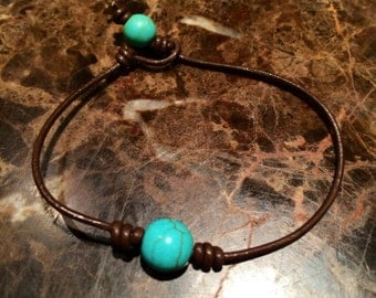Handmade Knotted Leather and Belizean Turquoise Bracelet