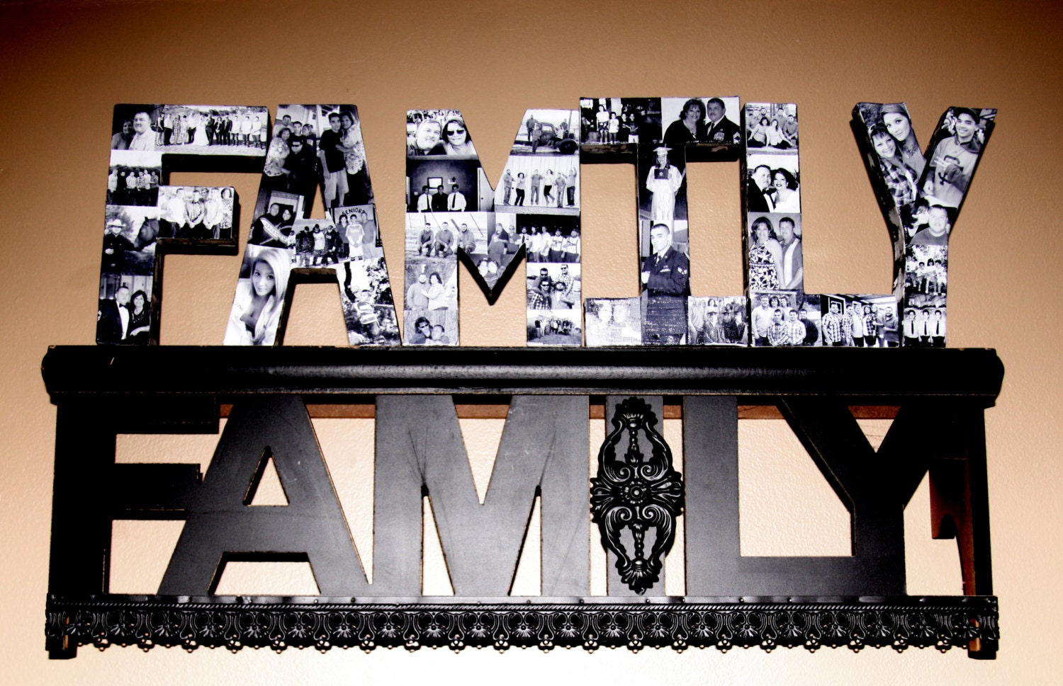 family photo letter collage hand painted with photos of your