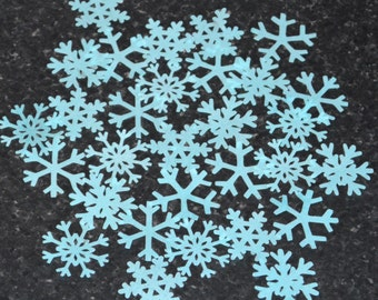 Edible Ice BLUE Snowflakes Vanilla Wafer Paper Frozen Snow Baking Decorations British Winter UK Cupcake Toppers Christmas Holiday Decor