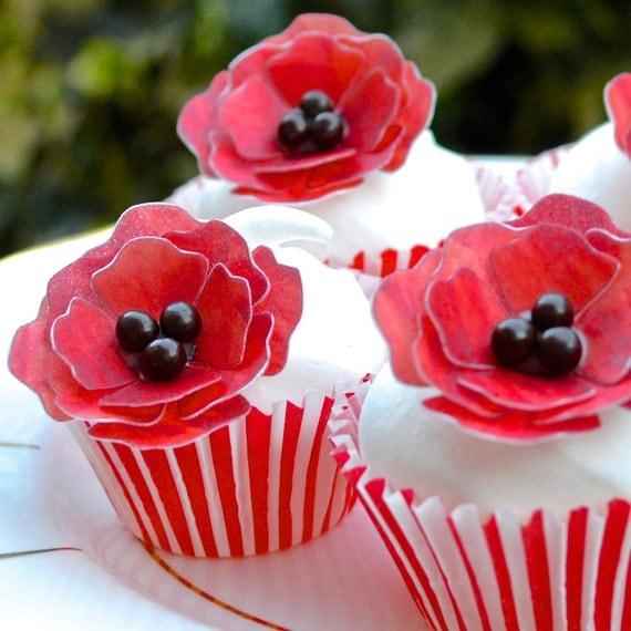 Poppy Rose Cake Design : Edible Red Poppy 3D Flowersx120 Ruby Poppies by ...