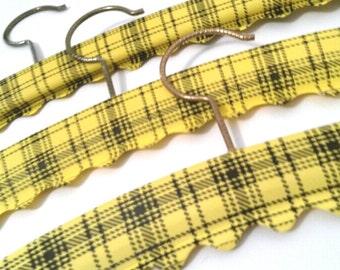 Three 1970's Vintage Yellow Plaid Hangers - Mid-Century - Old Retro Clothing Accessories - Wood Hanger - Plastic Yellow & Black Plaid Casing
