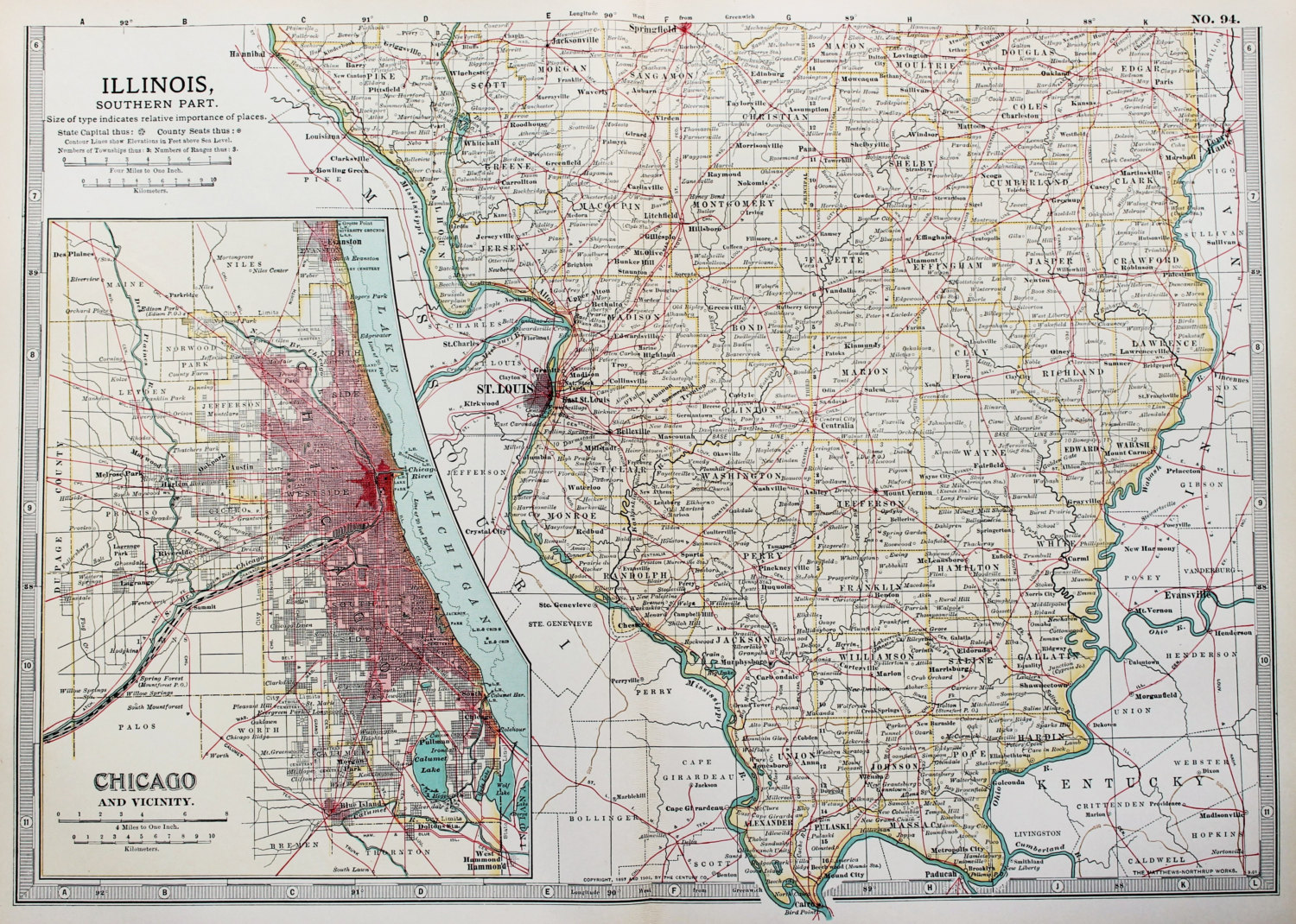 Antique Map Illinois Chicago USA US State Map