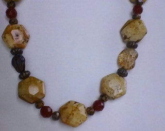 Picture jasper and carnelian necklace