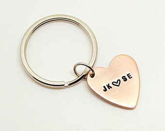 Personalized Hand stamped Heart Keychain  - Customize with names, initials, dates.- Gift for Groom, Husband, Father, Mom, Friends,