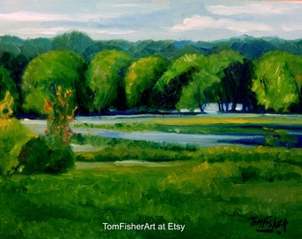 "Original ""Backwater Meadow"" Impressionist Landscape oil painting by Tom Fisher"