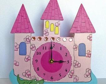"Clock, Handmade, Girls Pink Castle, 9 1/2"" x 11"" x 3"", Nursery/Children's Room"