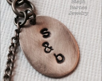 Custom initial necklace in bronze with turquoise detail