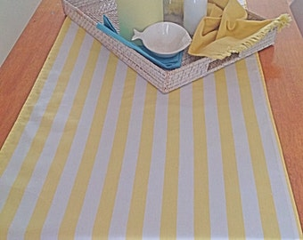 Yellow and white striped pure cotton table runner with white pom-pom trim