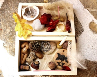 Bountiful Goddess, Mabon ritual portable altar set, wiccan travel altar, hedgewitch altar kit, travel altar, pagan starter kit