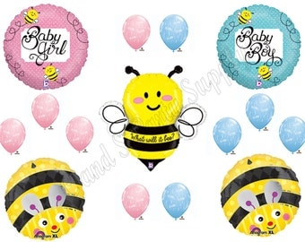 What Will It Bee?? Gender Reveal Balloons Decorations Supplies Baby Shower Boy or Girl