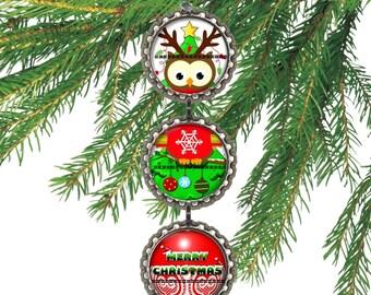 1 Bottle Cap Christmas Owl Ornaments your Choice