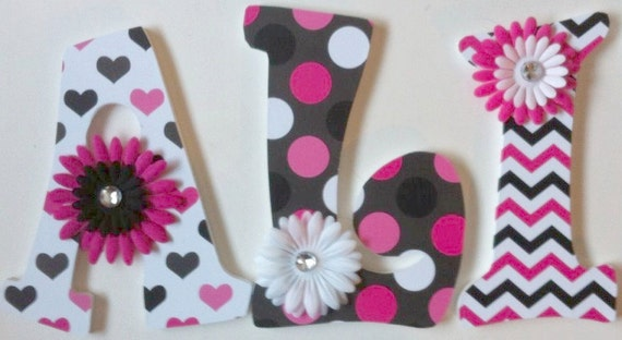 Baby Nursery Wall Letters Pink Black & White Decorative Wall