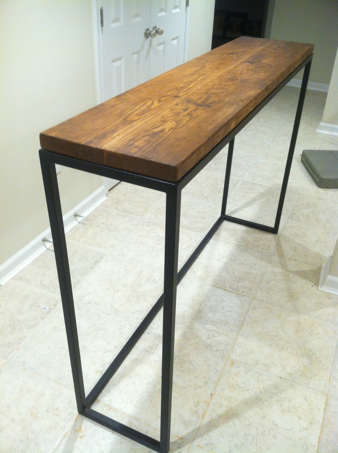 Rustic Reclaimed Wood Steel Leg Bar Table By Rustysplintermd