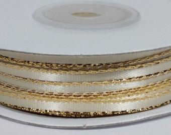 "1/8"" Satin Ribbon with Gold Edge - Ivory"