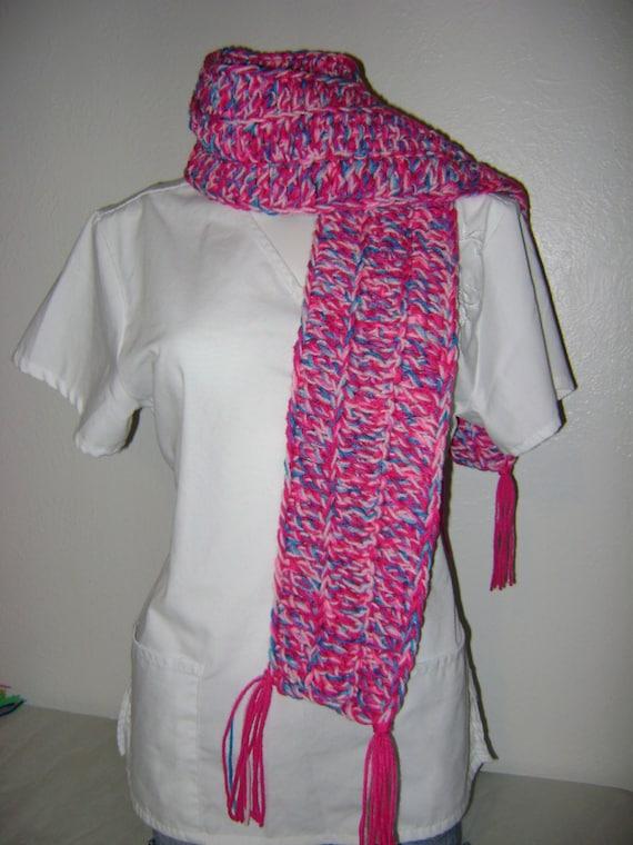 pink scarf crochet scarf handmade scarf by apoetwithalefthook