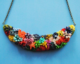 Polymer clay coral reef necklace
