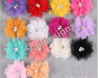 10pcs 6.5CM 2.6'' inch Wholesale Mesh Flower Brooch/Flower Headdress DIY Georgette Fabric Headband Accessories-Mixed Color- YTA41