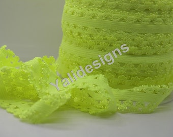 Neon Yellow 3/4''  Picot Edge Stretch Lace Frilly edges elastic webbing,Lace for Headbands,Wholesale Headbands YTA65 5 or 10 or 50 yards
