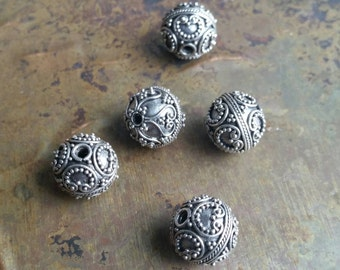 5 Intricate hand made antique silver Bali beads. 925 sterling silver. #1971