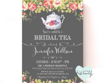 Bridal Shower Tea Party Invitations // Bridal Shower Tea Party Invitation // Vintage Bridal Tea Party Invite // Printable No.432