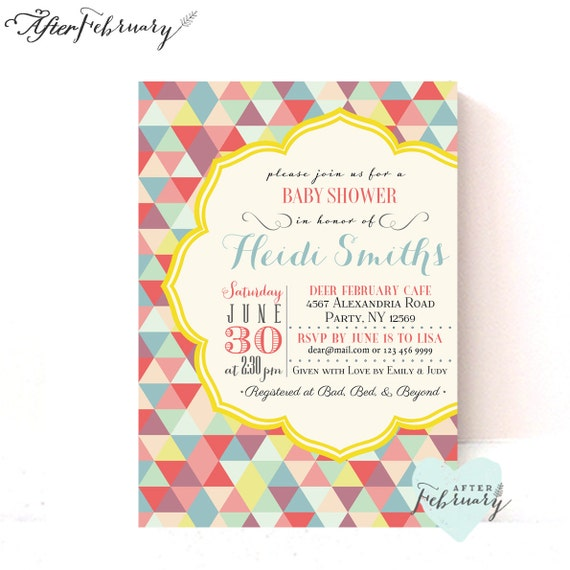 printable baby shower invitation modern simple geometric triangles